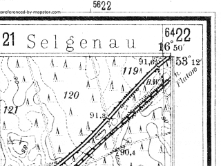 Reduced fragment of topographic map de--mb--025k--28_066--(1940)--N053-12_E016-40--N053-06_E016-50; towns and cities Pila