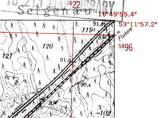 Reduced fragment of topographic map de--mb--025k--28_066-ams--(1952)--N053-12_E016-40--N053-06_E016-50; towns and cities Pila
