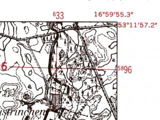 Reduced fragment of topographic map de--mb--025k--28_067-ams--(1952)--N053-12_E016-50--N053-06_E017-00
