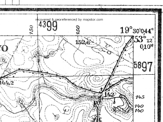 Reduced fragment of topographic map de--mb--025k--28_082--(1944)--N053-12_E019-20--N053-06_E019-30