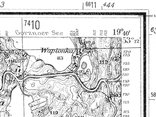 Reduced fragment of topographic map de--mb--025k--28_083--(1940)--N053-12_E019-30--N053-06_E019-40