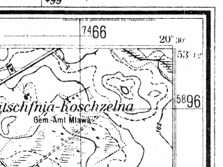 Reduced fragment of topographic map de--mb--025k--28_088--(1940)--N053-12_E020-20--N053-06_E020-30; towns and cities Mlawa