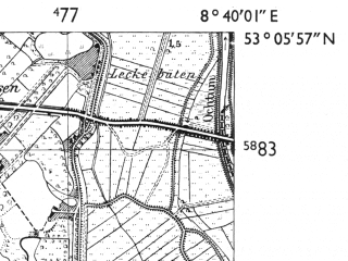 Reduced fragment of topographic map de--mb--025k--29_017-ams--(1955)--N053-06_E008-30--N053-00_E008-40; towns and cities Delmenhorst
