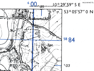 Reduced fragment of topographic map de--mb--025k--29_028-ams--(1955)--N053-06_E010-20--N053-00_E010-30