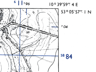Reduced fragment of topographic map de--mb--025k--29_029-ams--(1955)--N053-06_E010-30--N053-00_E010-40; towns and cities Bevensen