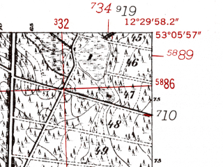 Reduced fragment of topographic map de--mb--025k--29_040-ams--(1952)--N053-06_E012-20--N053-00_E012-30