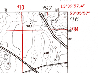Reduced fragment of topographic map de--mb--025k--29_047-ams--(1952)--N053-06_E013-30--N053-00_E013-40