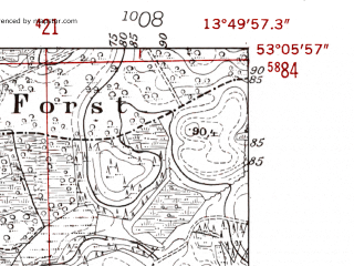 Reduced fragment of topographic map de--mb--025k--29_048-ams--(1952)--N053-06_E013-40--N053-00_E013-50
