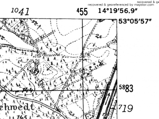 Reduced fragment of topographic map de--mb--025k--29_051-ams--(1952)--N053-06_E014-10--N053-00_E014-20; towns and cities Schwedt
