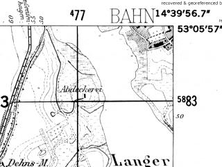 Reduced fragment of topographic map de--mb--025k--29_053-ams--(1952)--N053-06_E014-30--N053-00_E014-40; towns and cities Swobnica