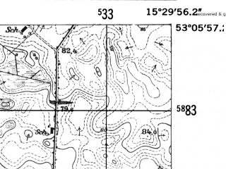 Reduced fragment of topographic map de--mb--025k--29_058-ams--(1952)--N053-06_E015-20--N053-00_E015-30