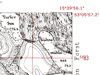 Reduced fragment of topographic map de--mb--025k--29_059-ams--(1952)--N053-06_E015-30--N053-00_E015-40