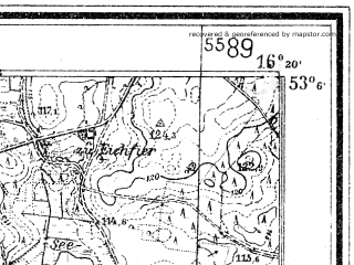 Reduced fragment of topographic map de--mb--025k--29_063--(1934)--N053-06_E016-10--N053-00_E016-20