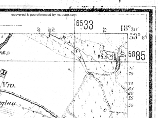 Reduced fragment of topographic map de--mb--025k--29_076--(1940)--N053-06_E018-20--N053-00_E018-30