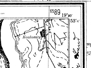 Reduced fragment of topographic map de--mb--025k--29_081--(1940)--N053-06_E019-10--N053-00_E019-20