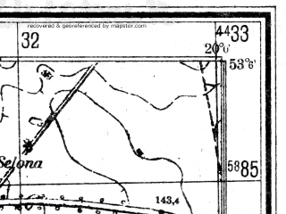 Reduced fragment of topographic map de--mb--025k--29_085--(1944)--N053-06_E019-50--N053-00_E020-00; towns and cities Zuromin