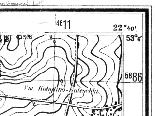Reduced fragment of topographic map de--mb--025k--29_101--(1944)--N053-06_E022-30--N053-00_E022-40