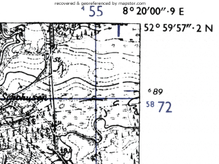Reduced fragment of topographic map de--mb--025k--30_015-ams--(1955)--N053-00_E008-10--N052-54_E008-20