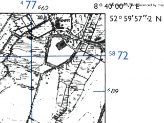 Reduced fragment of topographic map de--mb--025k--30_017-ams--(1955)--N053-00_E008-30--N052-54_E008-40; towns and cities Harpstedt