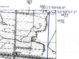 Reduced fragment of topographic map de--mb--025k--30_036-ams--(1952)--N053-00_E011-40--N052-54_E011-50; towns and cities Wittenberge
