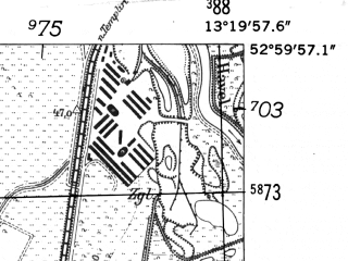 Reduced fragment of topographic map de--mb--025k--30_045-ams--(1952)--N053-00_E013-10--N052-54_E013-20; towns and cities Zehdenick
