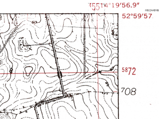 Reduced fragment of topographic map de--mb--025k--30_051-ams--(1952)--N053-00_E014-10--N052-54_E014-20