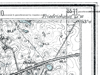 Reduced fragment of topographic map de--mb--025k--30_056--(1934)--N053-00_E015-00--N052-54_E015-10