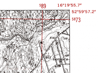 Reduced fragment of topographic map de--mb--025k--30_063-ams--(1952)--N053-00_E016-10--N052-54_E016-20