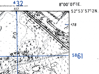Reduced fragment of topographic map de--mb--025k--31_013-ams--(1955)--N052-54_E007-50--N052-48_E008-00