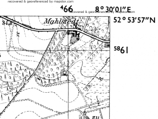 Reduced fragment of topographic map de--mb--025k--31_016-ams--(1955)--N052-54_E008-20--N052-48_E008-30