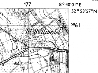 Reduced fragment of topographic map de--mb--025k--31_017-ams--(1955)--N052-54_E008-30--N052-48_E008-40; towns and cities Twistringen