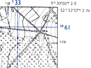Reduced fragment of topographic map de--mb--025k--31_022-ams--(1955)--N052-54_E009-20--N052-48_E009-30