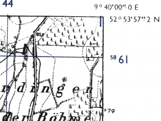 Reduced fragment of topographic map de--mb--025k--31_023-ams--(1955)--N052-54_E009-30--N052-48_E009-40; towns and cities Walsrode