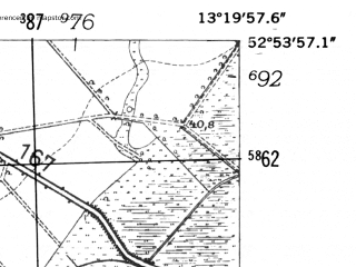 Reduced fragment of topographic map de--mb--025k--31_045-ams--(1952)--N052-54_E013-10--N052-48_E013-20