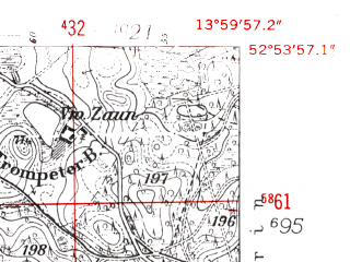 Reduced fragment of topographic map de--mb--025k--31_049-ams--(1952)--N052-54_E013-50--N052-48_E014-00