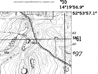 Reduced fragment of topographic map de--mb--025k--31_051-ams--(1952)--N052-54_E014-10--N052-48_E014-20