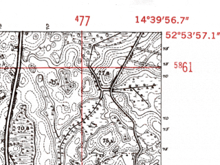 Reduced fragment of topographic map de--mb--025k--31_053-ams--(1952)--N052-54_E014-30--N052-48_E014-40