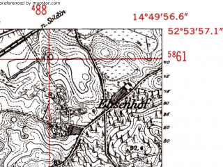 Reduced fragment of topographic map de--mb--025k--31_054-ams--(1952)--N052-54_E014-40--N052-48_E014-50