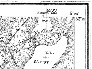 Reduced fragment of topographic map de--mb--025k--31_057--(1934)--N052-54_E015-10--N052-48_E015-20
