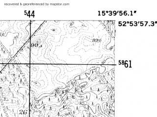 Reduced fragment of topographic map de--mb--025k--31_059-ams--(1952)--N052-54_E015-30--N052-48_E015-40; towns and cities Strzelce Krajenskie