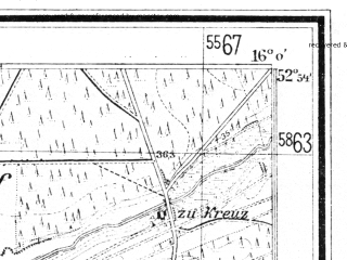 Reduced fragment of topographic map de--mb--025k--31_061--(1941)--N052-54_E015-50--N052-48_E016-00; towns and cities Drezdenko