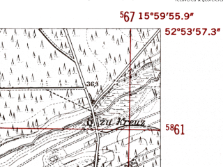 Reduced fragment of topographic map de--mb--025k--31_061-ams--(1952)--N052-54_E015-50--N052-48_E016-00; towns and cities Drezdenko