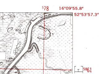 Reduced fragment of topographic map de--mb--025k--31_062-ams--(1952)--N052-54_E016-00--N052-48_E016-10; towns and cities Krzyz