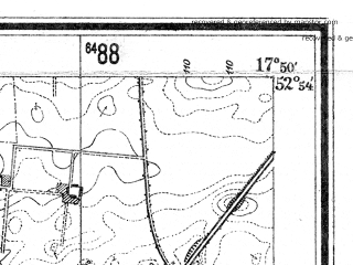 Reduced fragment of topographic map de--mb--025k--31_072--(1940)--N052-54_E017-40--N052-48_E017-50; towns and cities Znin