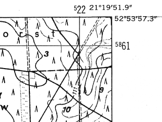 Reduced fragment of topographic map de--mb--025k--31_093-ams--(1952)--N052-54_E021-10--N052-48_E021-20