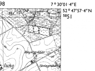 Reduced fragment of topographic map de--mb--025k--32_010-ams--(1955)--N052-48_E007-20--N052-42_E007-30