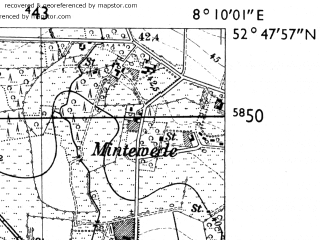 Reduced fragment of topographic map de--mb--025k--32_014-ams--(1955)--N052-48_E008-00--N052-42_E008-10