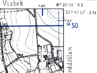 Reduced fragment of topographic map de--mb--025k--32_015-ams--(1955)--N052-48_E008-10--N052-42_E008-20; towns and cities Vechta