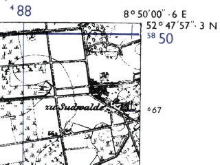 Reduced fragment of topographic map de--mb--025k--32_018-ams--(1955)--N052-48_E008-40--N052-42_E008-50