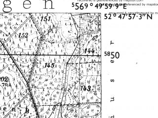 Reduced fragment of topographic map de--mb--025k--32_024-ams--(1955)--N052-48_E009-40--N052-42_E009-50